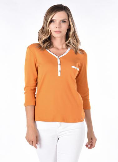Optique Knitwear Düz Polo Yaka Uzun Kol Penye Bluz Sarı
